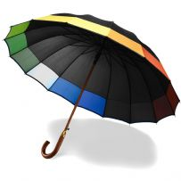 16 Panel Black Rainbow Umbrella